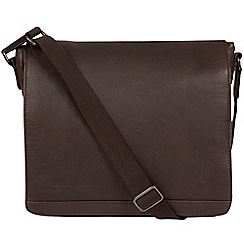 Pure Luxuries London - Cocoa 'Peak' leather messenger bag