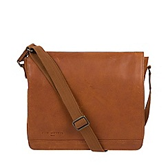 Pure Luxuries London - Tan 'Peak' leather messenger bag