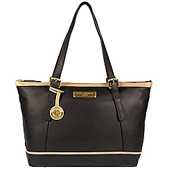 Pure Luxuries London - Black and champagne trim 'Blossom' soft leather handbag  Deluxe Collection