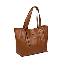 Pure Luxuries London - Vintage dark tan 'Cranbrook' fine leather tote bag