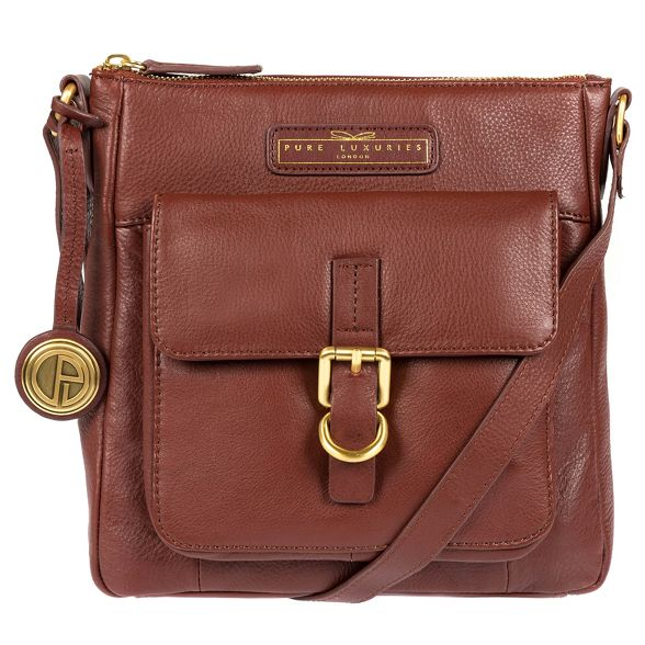 Deluxe London brown leather 'Libbi' Auburn Luxuries body bag Pure Collection soft cross vSg1n