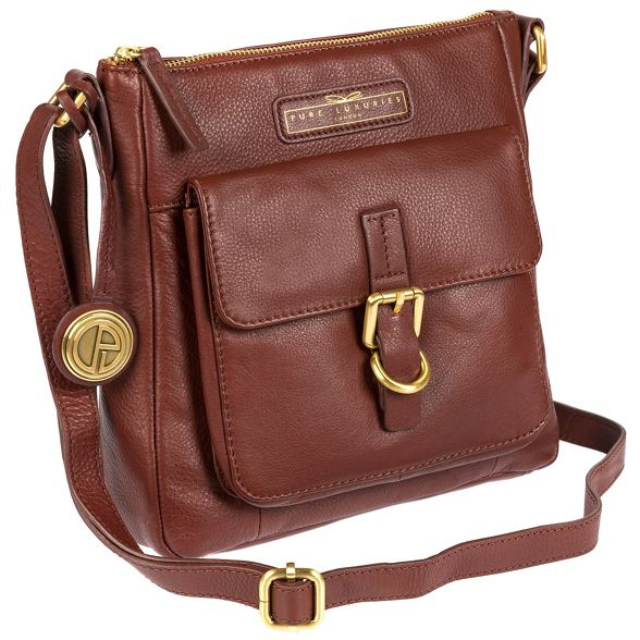 Deluxe Pure London body cross 'Libbi' soft Auburn Collection Luxuries bag brown leather UUqrBvwZ