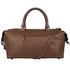 Pure Luxuries London - Dark chestnut 'Mallory' leather holdall