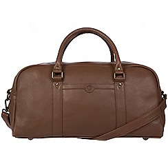 Pure Luxuries London - Dark chestnut 'Shackleton' leather holdall