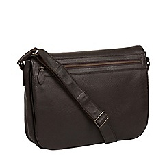 Pure Luxuries London - Brown 'Lawrence' leather messenger bag