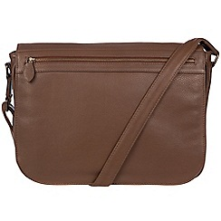 Pure Luxuries London - Dark chestnut 'Lawrence' leather messenger bag