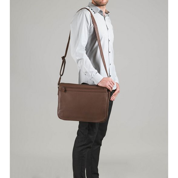 Dark chestnut bag London messenger 'Lawrence' Luxuries Pure leather 8wBEUcq
