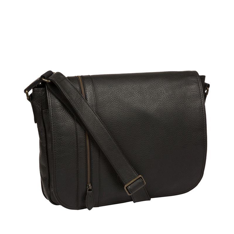 Pure Luxuries London - Black Byron Leather Messenger Bag