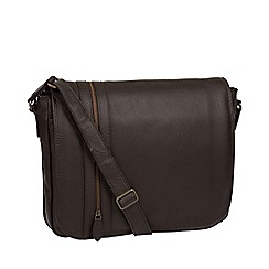 Pure Luxuries London - Brown 'Byron' leather messenger bag