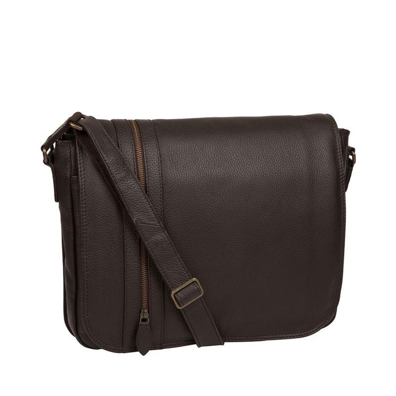 Pure Luxuries London - Brown Byron Leather Messenger Bag
