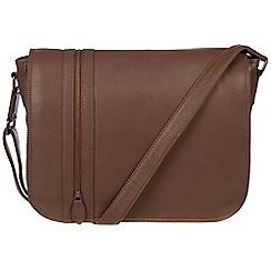 Pure Luxuries London - Dark chestnut 'Byron' leather messenger bag