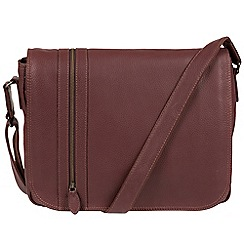 Pure Luxuries London - Oxblood 'Byron' natural leather messenger bag