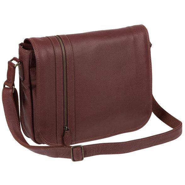 bag Luxuries messenger 'Byron' natural leather London Oxblood Pure pwqU8PU