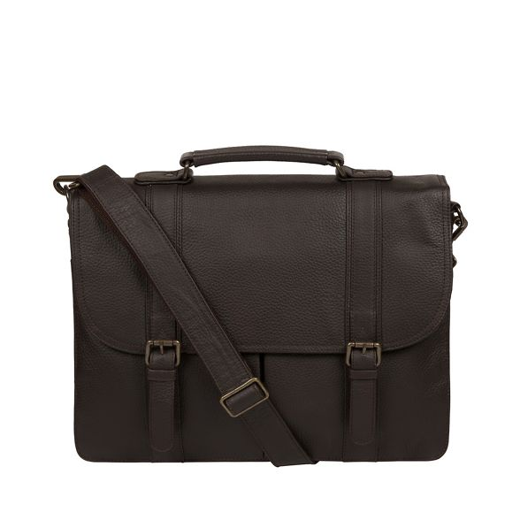 Pure 'Caxton' leather briefcase Luxuries London Brown rtrwU