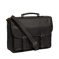 Pure Luxuries London - Black 'Scott' leather briefcase
