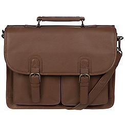 Pure Luxuries London - Dark chestnut 'Scott' leather briefcase