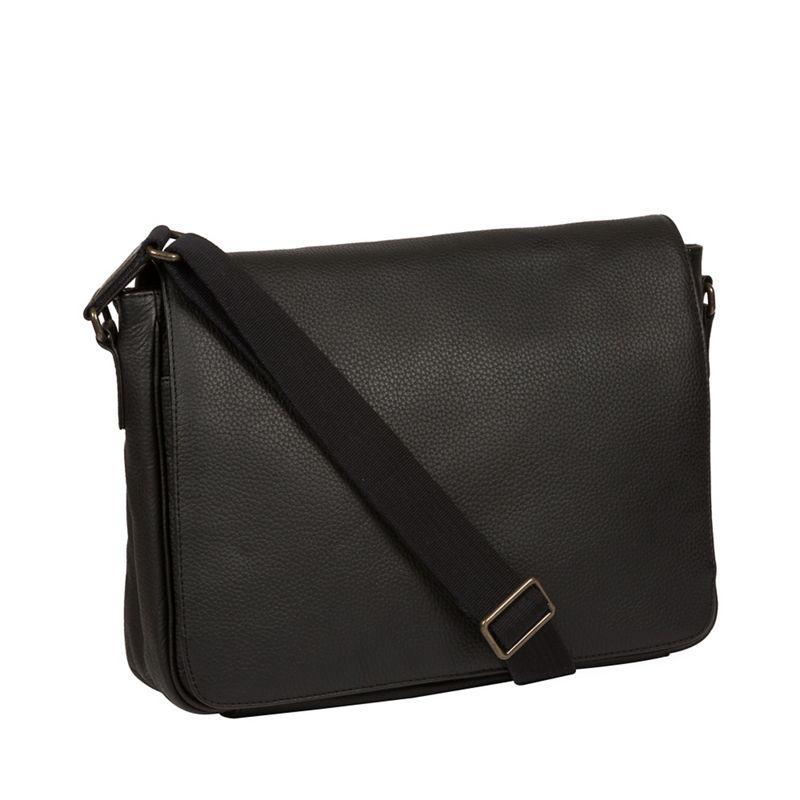 Pure Luxuries London - Black Keats Leather Messenger Bag