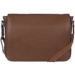 Pure Luxuries London - Dark chestnut 'Keats' leather messenger bag