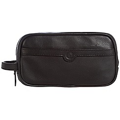 Pure Luxuries London - Black 'Moore' leather wash bag