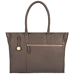 Pure Luxuries London - Grey 'Bexley' leather handbag with gold-coloured detailing