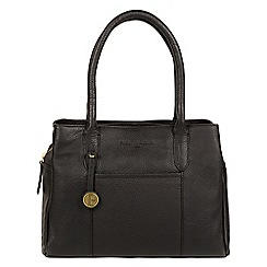 Pure Luxuries London - Black 'Cheadle' with gold-coloured detailing leather  handbag