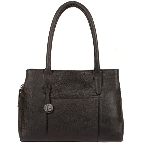 leather Black handbag London Luxuries Pure 'Cheadle' detail coloured with platinum wIgfAxqEx