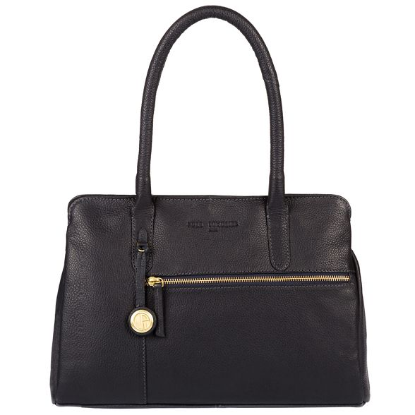 Luxuries leather handbag detailing 'Darley' London Pure gold Navy with coloured dFqIaw