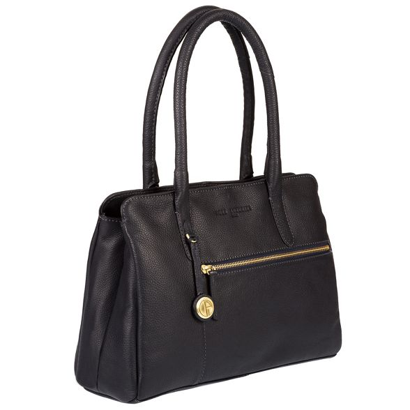 Luxuries London leather Navy Pure 'Darley' detailing coloured handbag with gold qa4Sqwd