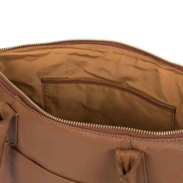 Luxuries tan handbag 'Eton' Dark Pure leather London 4Rqn0vxxdp