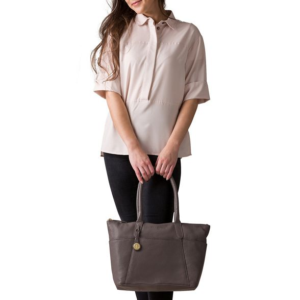 Pure London leather handbag detailing Luxuries 'Eton' gold with Grey coloured arvwa5nq