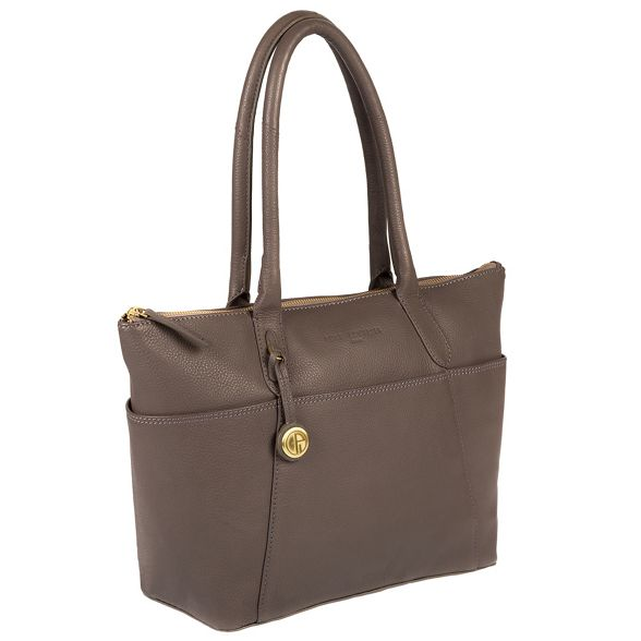 Luxuries Pure with Grey coloured 'Eton' detailing gold handbag leather London TTcvP7HR