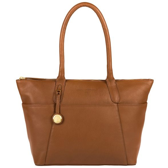 coloured detailing leather 'Eton' Luxuries gold handbag Tan Pure London with p8RwqgUx