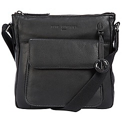 Pure Luxuries London - Black 'Fleet' leather bag with platinum-coloured detailing