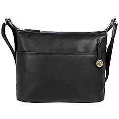 Pure Luxuries London - Black 'Helmsley' leather bag with gold-coloured detailing