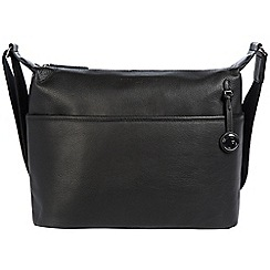 Pure Luxuries London - Black 'Helmsley' leather bag with platinum-coloured detailing