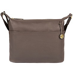 Pure Luxuries London - Grey 'Helmsley' leather bag with gold-coloured detailing