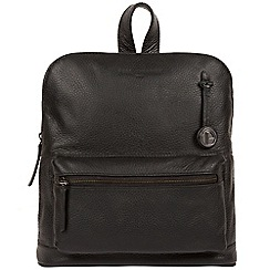 Pure Luxuries London - Black 'Ingleby' leather bag with platinum coloured detail