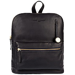 Pure Luxuries London - Navy 'Ingleby' leather backpack with gold-coloured detailing
