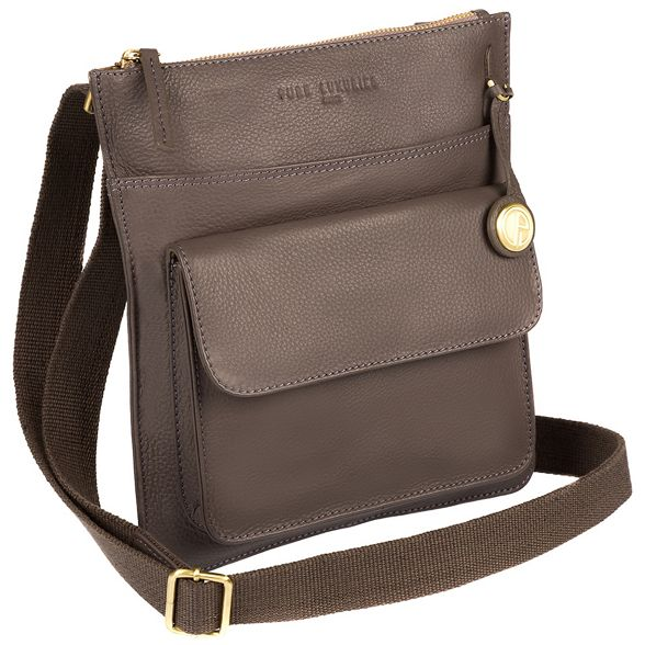 Pure leather bag with detailing Luxuries 'Jarrow' London gold Grey coloured IwrgxIp