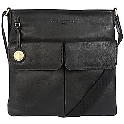 Pure Luxuries London - Black 'Alice' leather bag with gold-coloured detailing