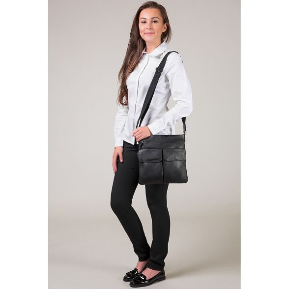 detailing platinum Pure coloured leather Black 'Alice' with London Luxuries bag qw4Fzq6