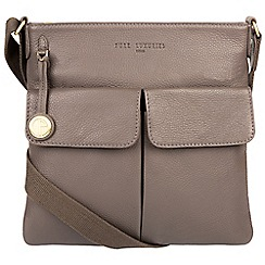 Pure Luxuries London - Grey 'Alice' leather bag with gold-coloured detailing