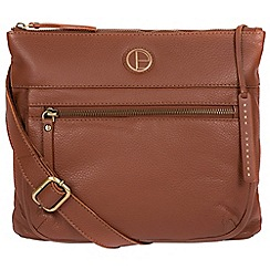 Pure Luxuries London - Dark tan 'Serenity' fine leather cross-body bag