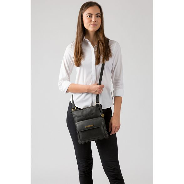 Black Luxuries cross Pure London leather handcrafted bag 'Anne' body HEdx1wxFq