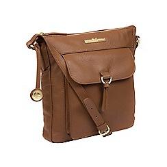 Pure Luxuries London - Dark tan 'Caroline' handcrafted leather cross-body bag