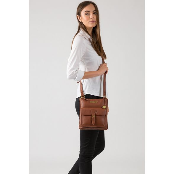 body Luxuries Dark cross London bag Pure leather 'Heather' tan wa0wBq