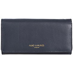 Pure Luxuries London - Midnight blue 'Lina' natural leather RFID purse