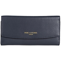 Pure Luxuries London - Midnight blue 'Perth' natural leather RFID purse