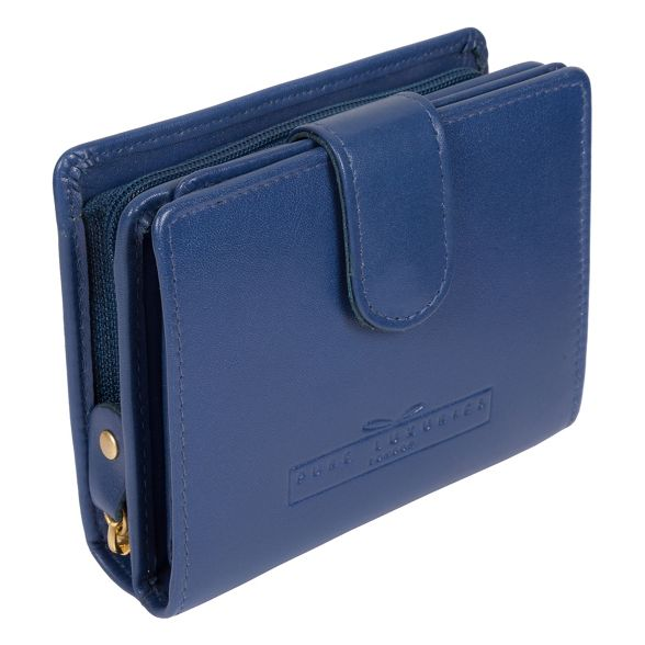 leather blue London handcrafted purse 'Tori' Luxuries Pure Royal RFID qxZRSzW7