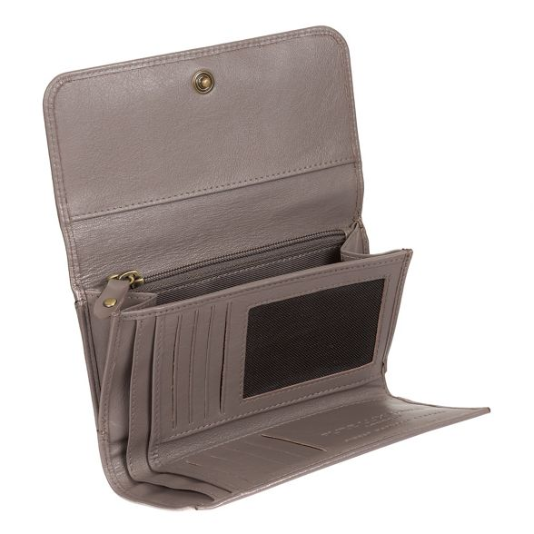 Taupe London leather Pure handcrafted 'Pearl' RFID purse Luxuries grey 4OxwSHgq